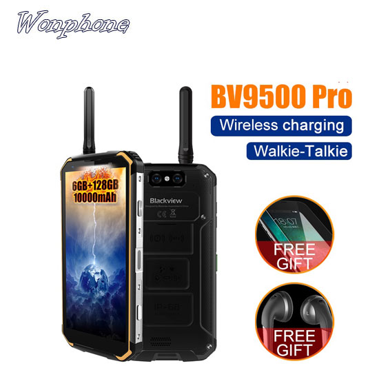 Blackview BV9500 pro 10000mAh IP68 Waterproof Smartphone 6GB 128GB MT6763T Android 8.1 Walkie-Talkie wireless charging