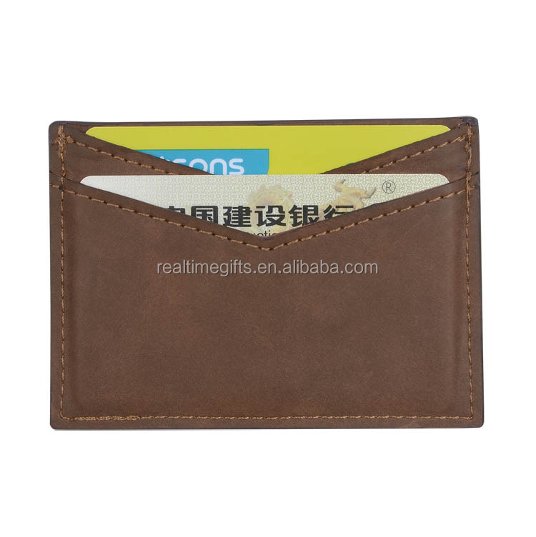 High quality oil painted slim nubuck real leather credit card holder wallet