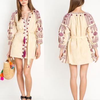 aa344e37352 Летнее модное платье с вышивкой ручной работы  платье с рукавами-баллоном  для девочек