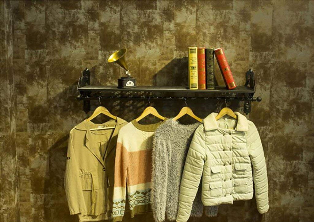 Ymj Wall clothes rack/men and women shop shelves wall/iron clothing shelves (Size : L123h33w31cm)