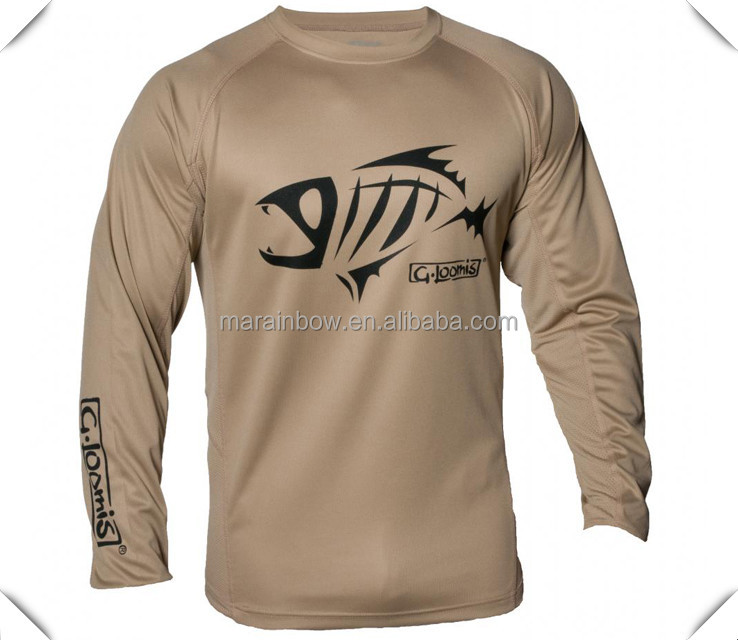 OEM antimicrobial UPF 30+ sun protection dry fit performance fishing shirts with mesh side and tagless neck printing