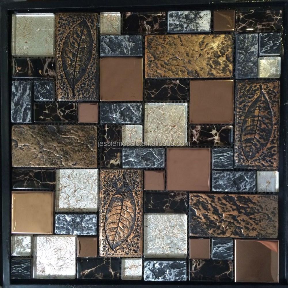 Js rustico mattone di vetro miscela di resina e mosaico in metallo ...