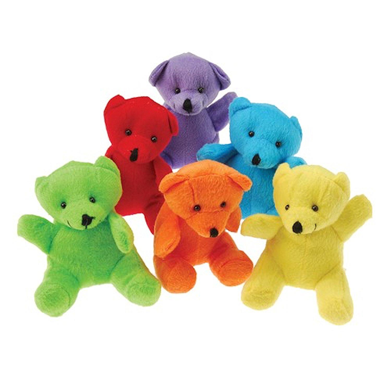 Dozen Plush Assorted Neon Color Plush Teddy Bear Stuffed Animals