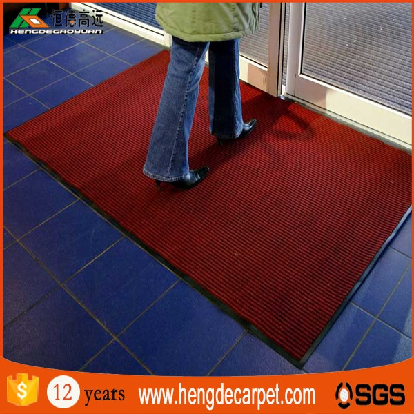 modern designed 60*90 fashion non slip double striped floor mat with loop pile for public place