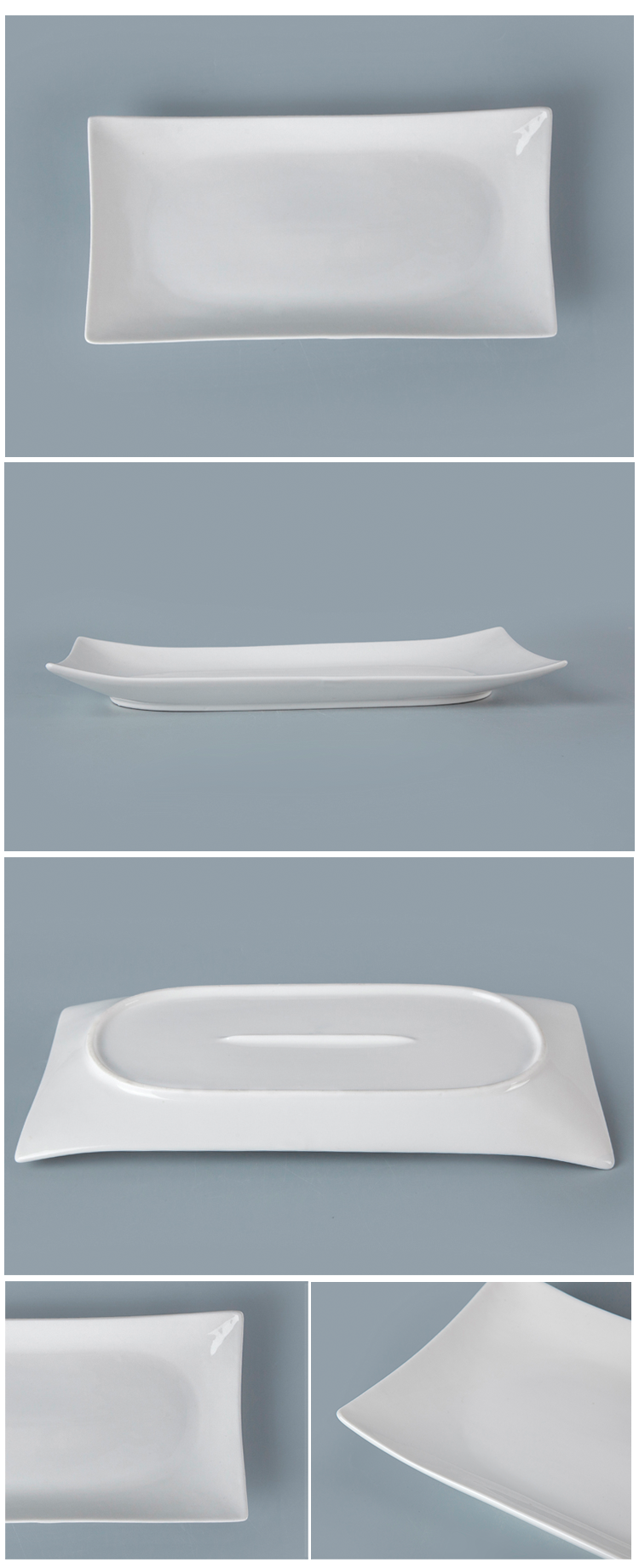 2019 New Product Hot Selling White Italian Rectangle Dinner Plates