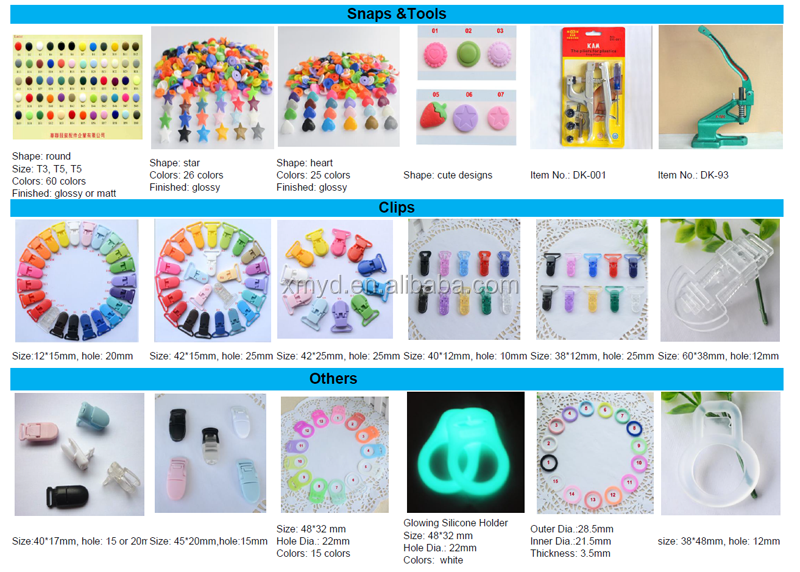 10 Multi Color Baby Pacifier T-Clip Style KAM Plastic Dummy Clip