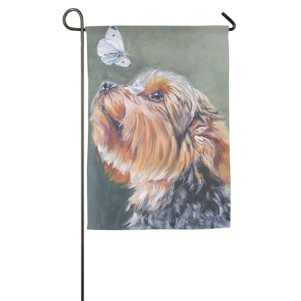 Hattgg Initial Yorkie Dog Animal Funny Porch Yard House Garden Flags 12 X  18 Semi Transparent
