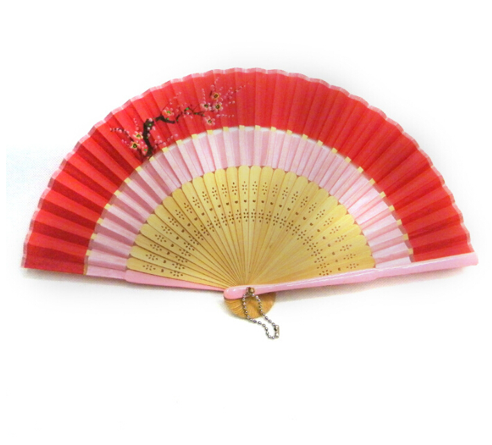 custom manual plastic hand fan, chinese foldable fabric bamboo hand fan