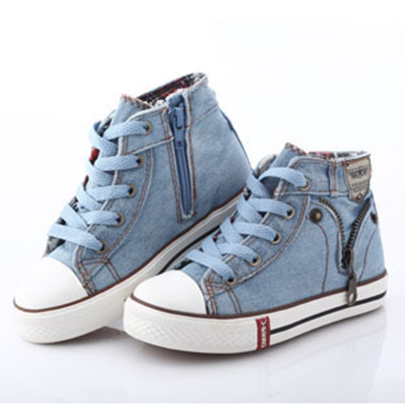 Denim Canvas Jeans Fashion Unisex Sport Shoes Sneakers Running Shoes casual shoes boys girls Sneakers kids shoes size 25-37