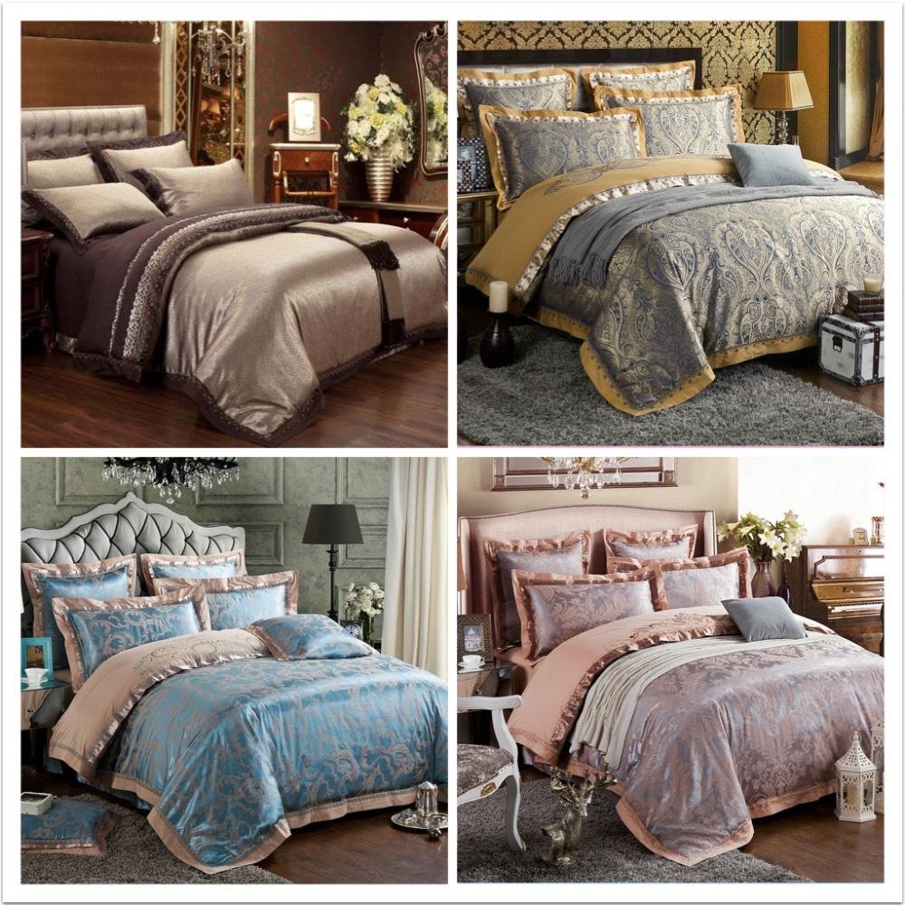 6 pcs de luxe ensemble de literie draps de soie linge de lit ensembles reine king size couette. Black Bedroom Furniture Sets. Home Design Ideas