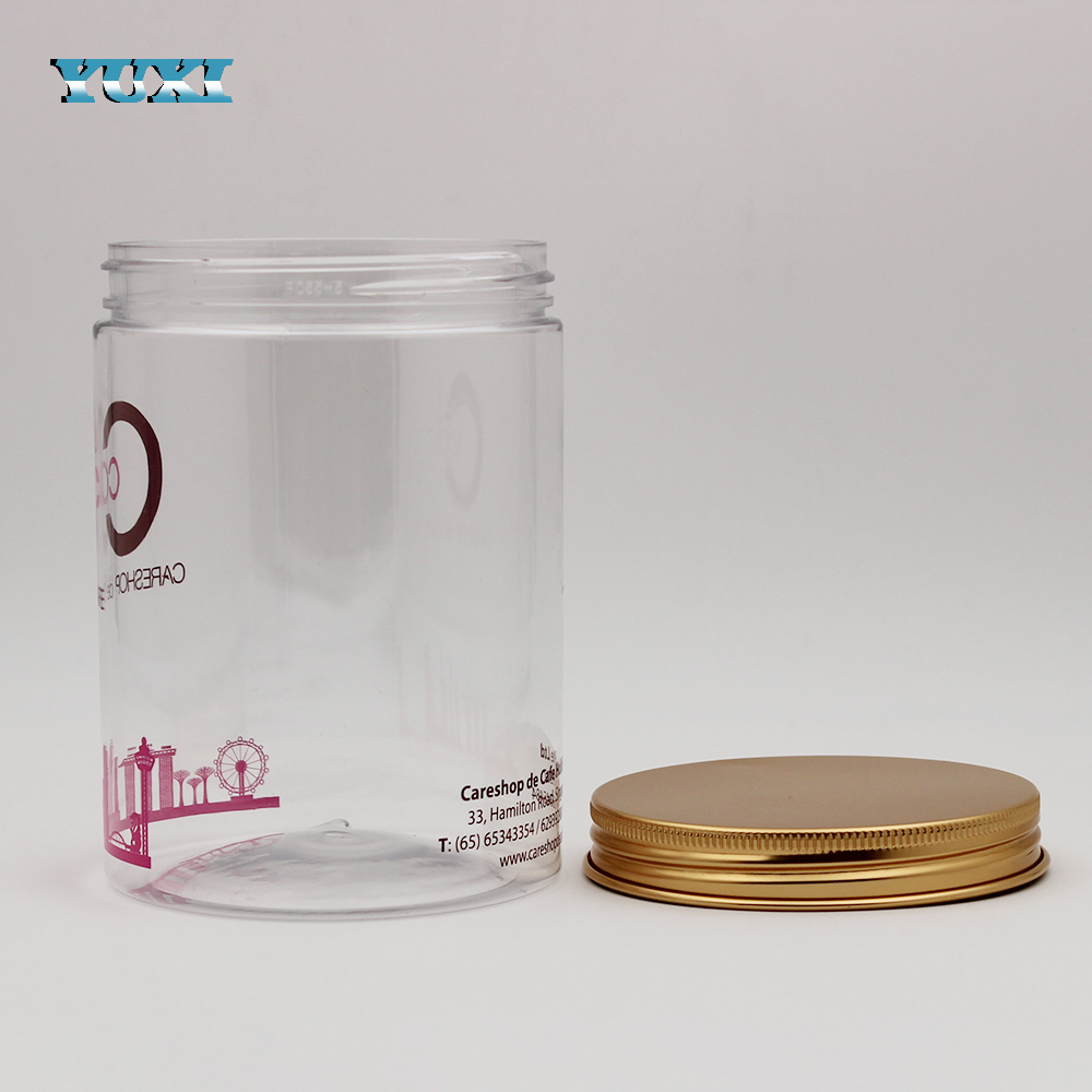 32oz custom large clear plastic cookie jars with aluminum lids