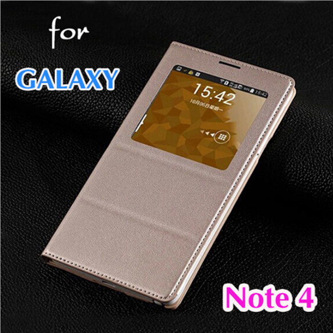 Original Slim View Back Battery Housing Cover Shell Holster Flip Leather Case For Samsung Galaxy Note 4/N910/N9100