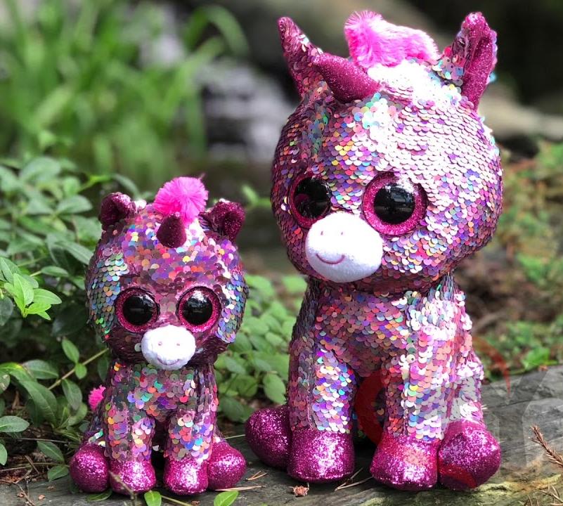 Reversible Sequin Plush Dog ~ Pink /& Gold