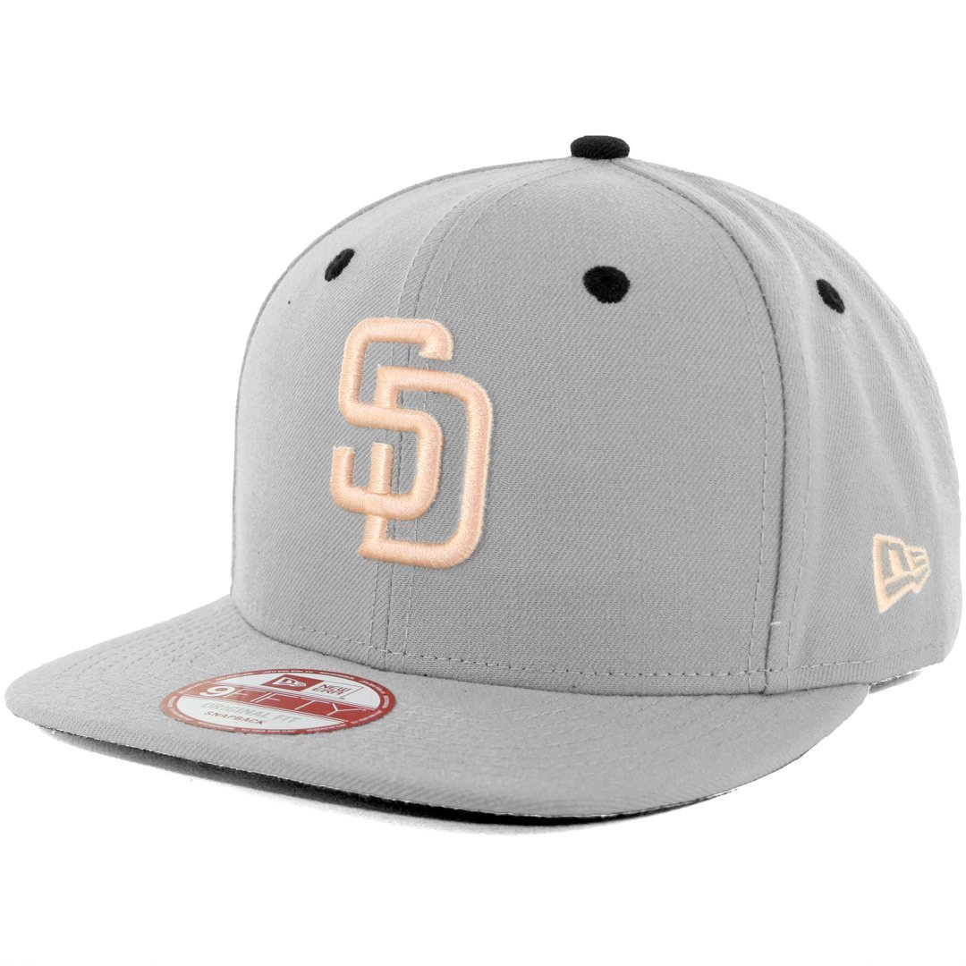 5bd8876578a Get Quotations · New Era SD San Diego Padres Custom Snapback Hat  (Grey Apricot) 9Fifty Cap