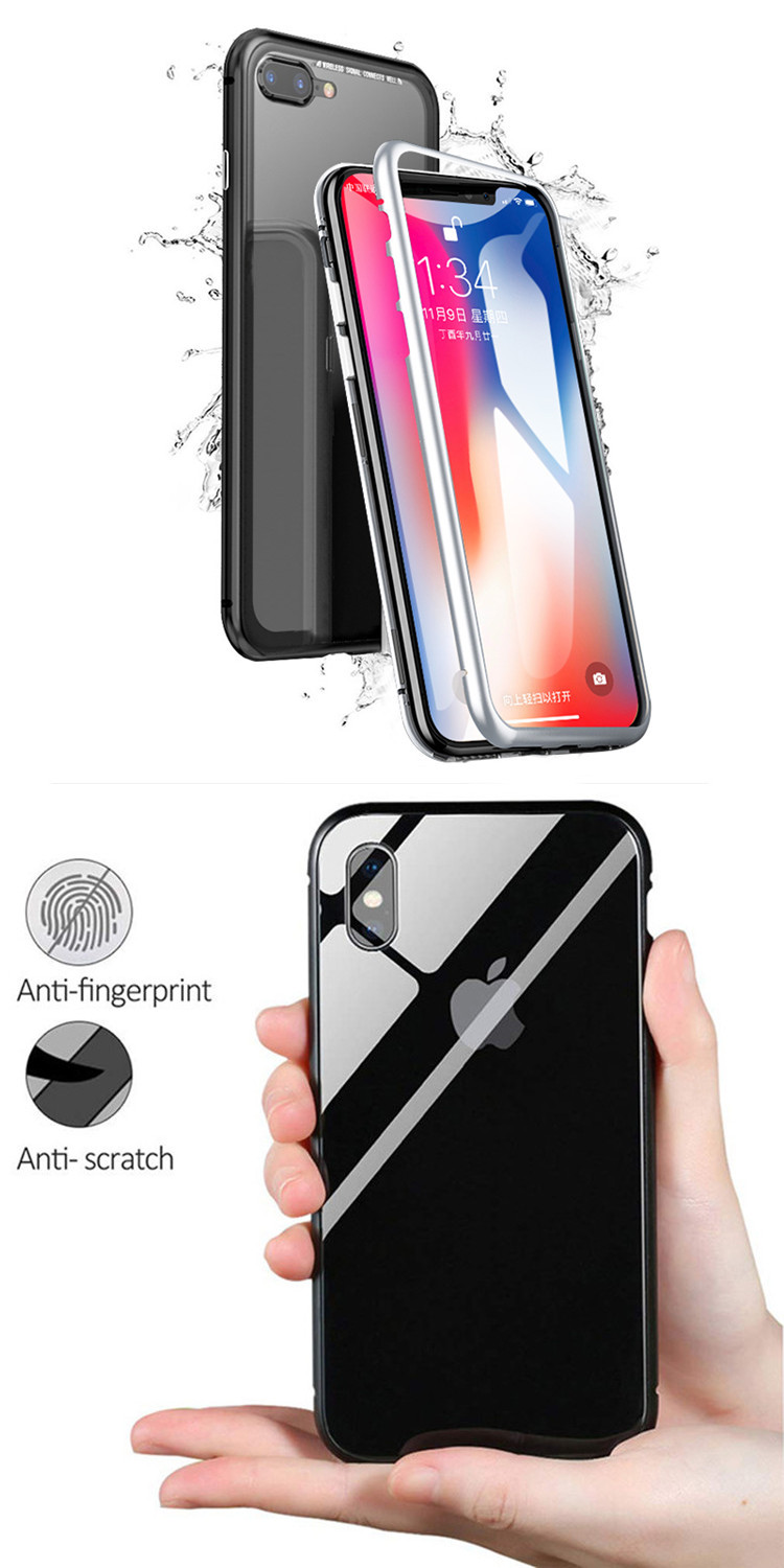 For iPhone X Case Magnetic Adsorption Phone Case Metal Magnet Tempered Glass Cases For iPhone Xs Max Xr 8 7 6 Plus For Samsung