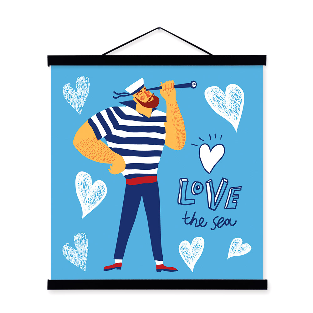 Cartoon sailor fish Portrait <font><b>Hipster</b></font> A4 Wooden Framed Canvas Painting Wall Art Print Picture Poster <font><b>Home</b></font> <font><b>Decor</b></font>