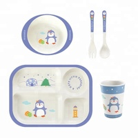 Custom Made Bamboo Fiber Tableware Melamine Dinner Set For Children Kids Set A002