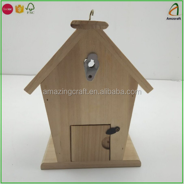 Handmade Rustic Wooden Nesting Nest Box Bird House Boxes Garden Ornaments with Metal Hook