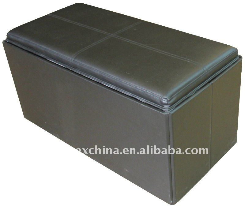 stronger! black leather foldable storage bench with tray