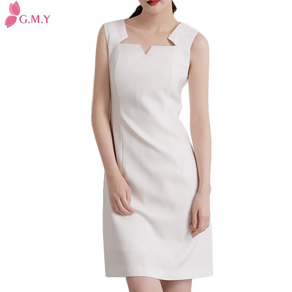 women cotton blended special neakline white sexy party club dress