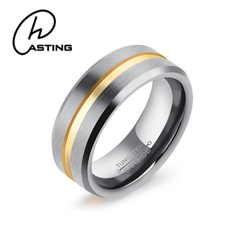 Mens 8mm Silver Matte Finish Tungsten Carbide Ring 14k Gold Plated