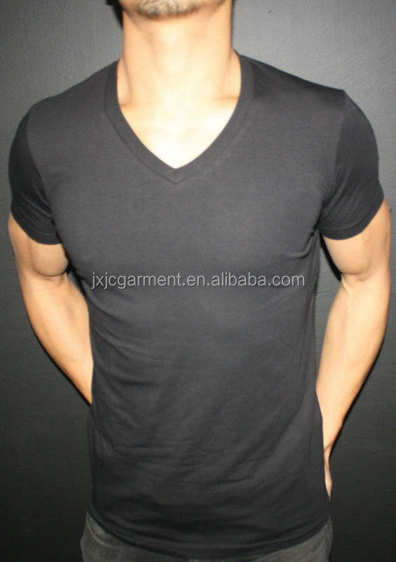 China Import Blank V Neck T Shirts/v Shape Collar T Shirt/deep V ...