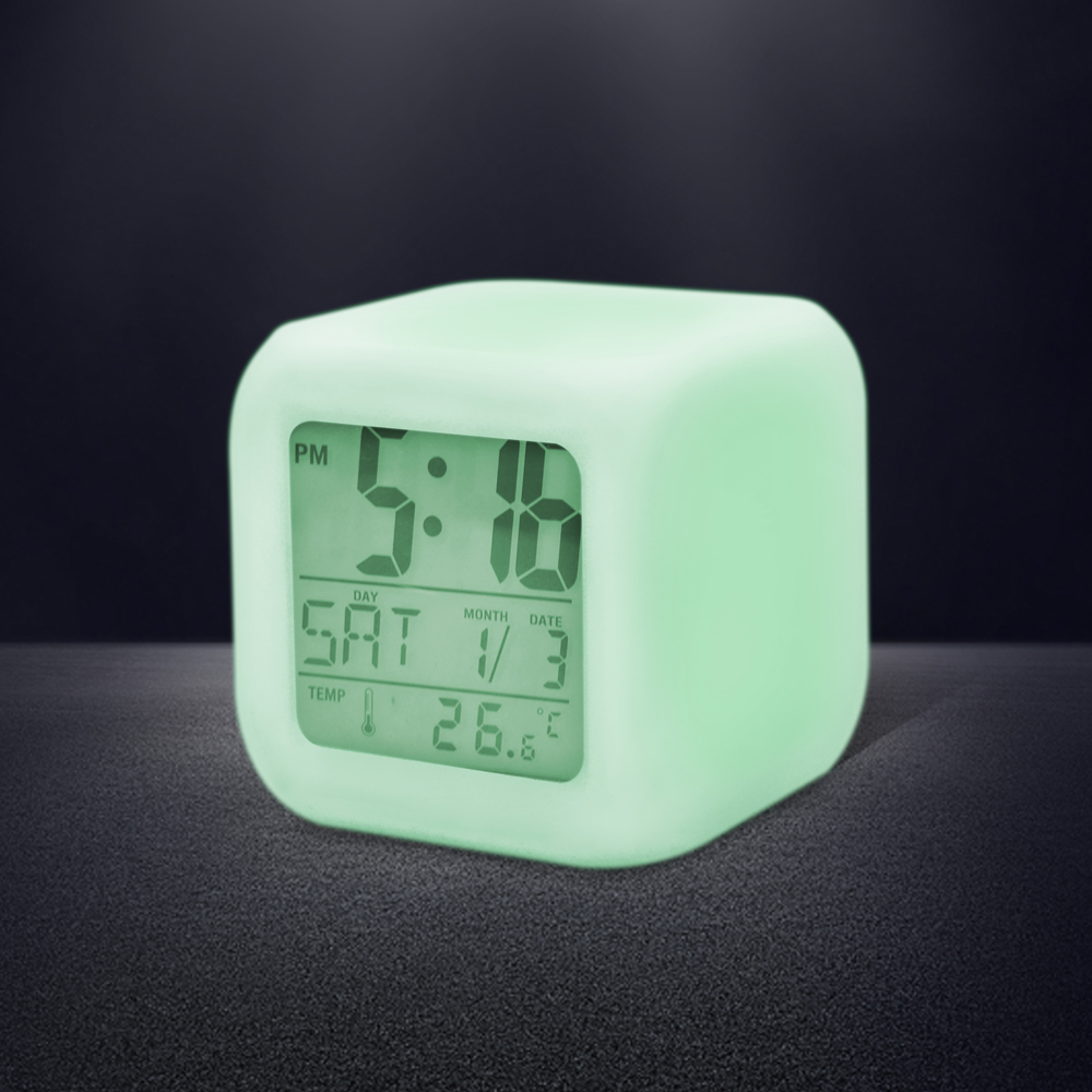 7 LED Colors Changing Digital Alarm Clock Desk Gadget Digital Alarm Thermometer Night Glowing Cube LCD Clock