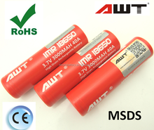 AWT 18650 3000mAh 40A 3.7V Li-ion cell Rechargeable Battery from Original AWT Battery Manufacturer for electronic cigarette