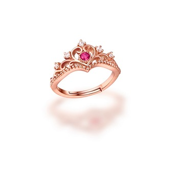 Fashion Princess Crown Shaped Wedding Rings Gold 18k Plated