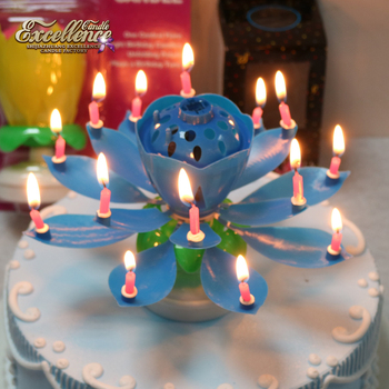 Double Layers Rotating Lotus Music Birthday Candle With 14 Little Candles