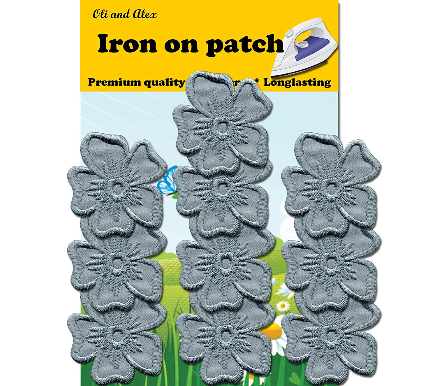 Iron on Patches - Gray Flower Iron On Patch 10 Pieces Embroidered Decorative Patches Fashion Set Approx. 1.89 x 1.96 inches (4.7 x 5.0cm) A-162
