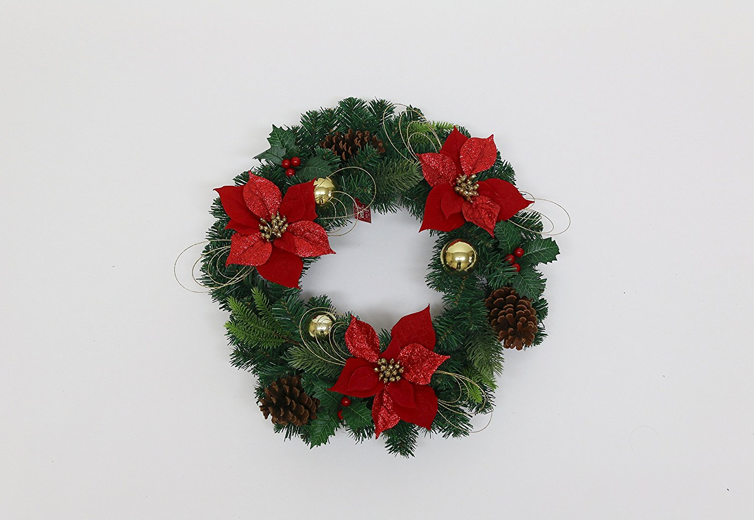 Christmas Treasures 24 Inch Pre-Decorated Christmas Wreath (Green, Red, Gold)