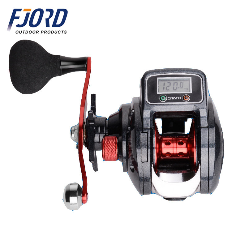 FJORD New LED line counter data display battery bait casting fishing reel, Same as picture or customized