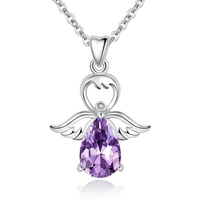 Fashion choker cz crystal sterling silver jewelry angel necklace