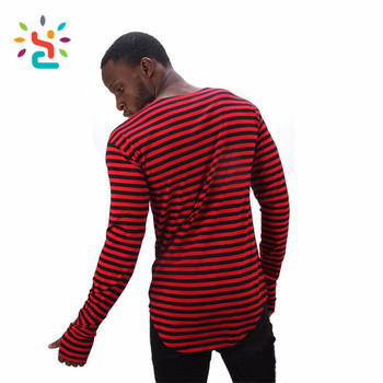 Mens T Shirt With Thumb Hole Long Sleeve Tees Summer Striped O Neck  Oversized Stock White And Black T-shirt - Buy Long Tee Shirts For  Men,Summer T
