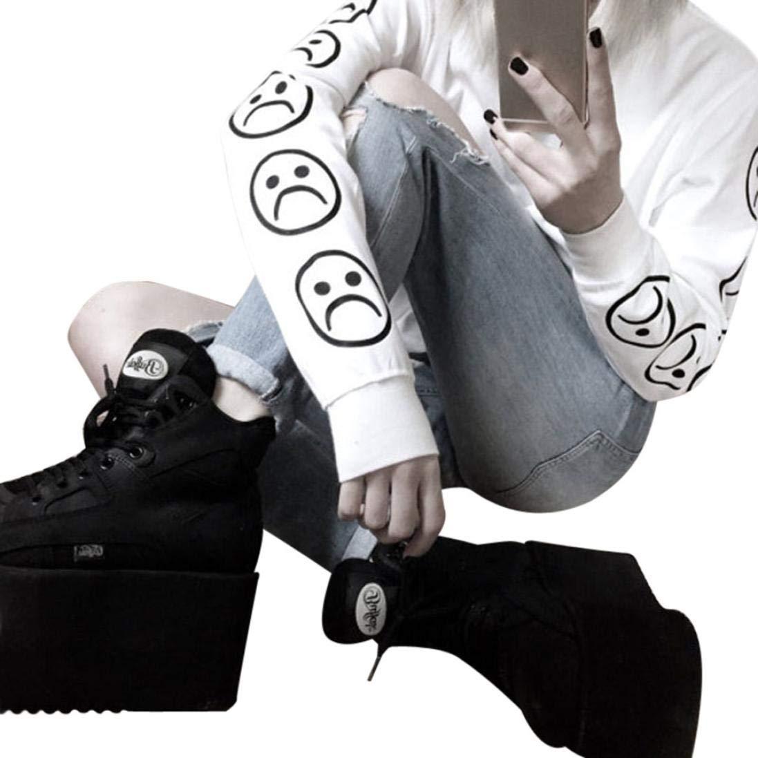 Snowfoller Sad Face Printed Sweatshirt,Women Long Sleeve O-Neck Black Black Tee T-Shirts Fashion Autumn Blouse