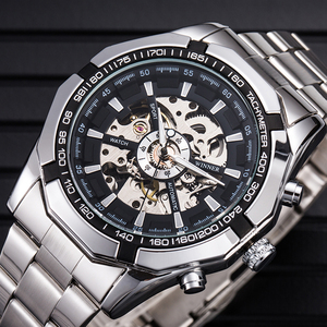 WINNER 246 sale Fashion Winner Stainless Steel Skeleton Mechanical Watch For Man automatic self winder Wrist Watch