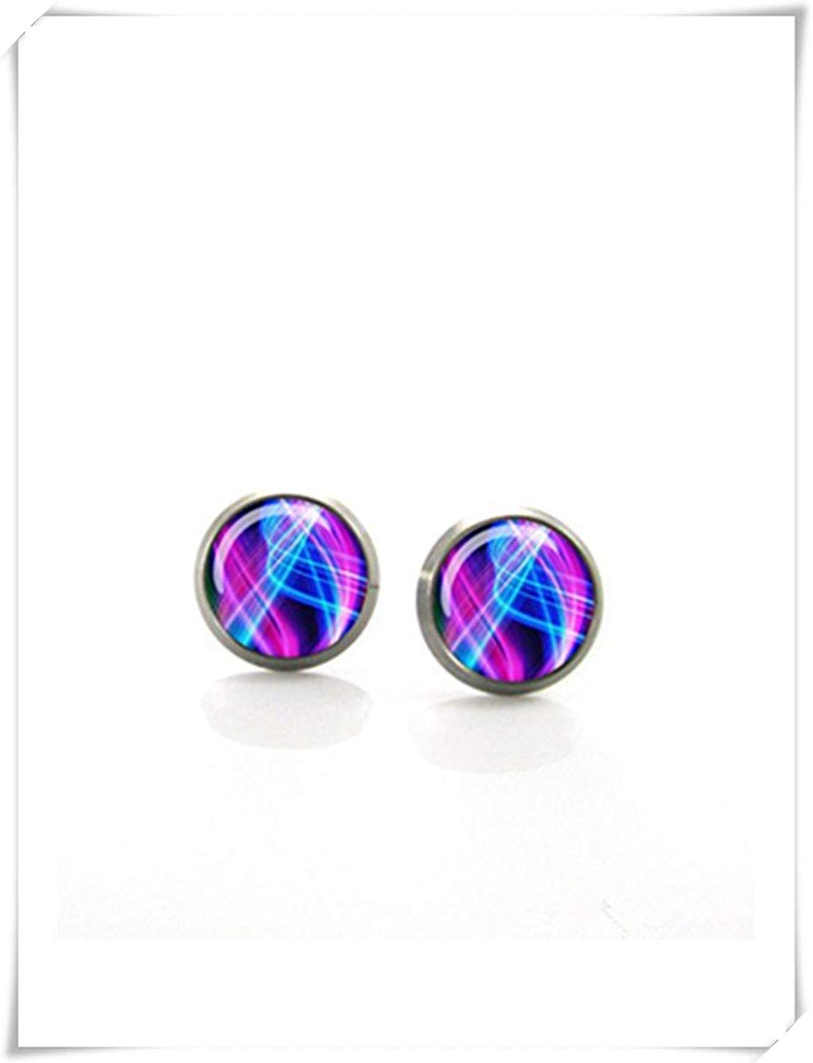 Hobbs Pink, Purple and Electric Blue Titanium Post Earrings | Hypoallergenic Earring Stud |