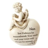 Memorial Statue Angel sitting on a Heart Cherubs Polyresin