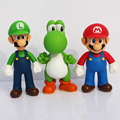 Free shipping 3pcs set Super Mario Bros Luigi Mario Yoshi PVC Action Figures toy 13cm