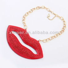 Hot Red Rhinestone Sexy Lip Gloss Necklace