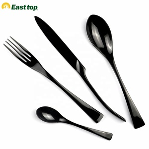 High quality stainless steel flatware set,table fork spoon knife black cutlery