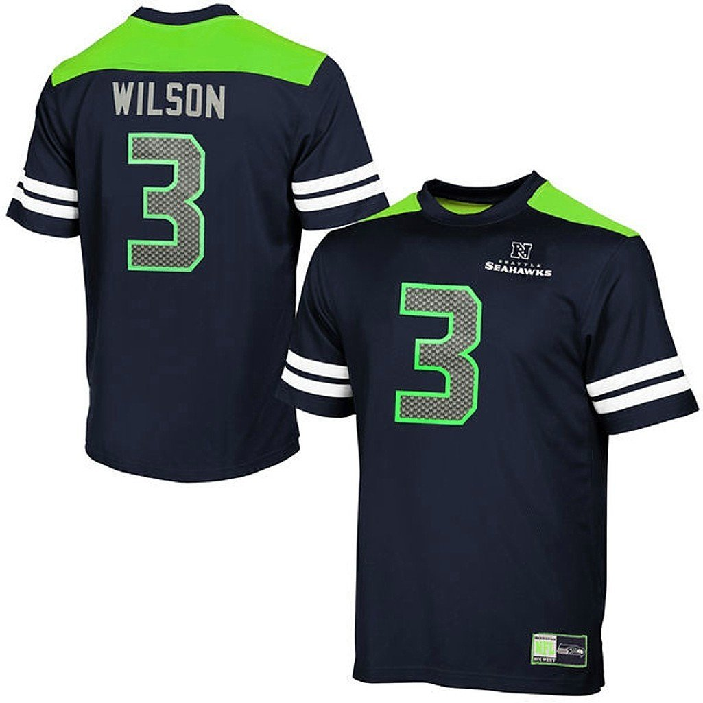 43c5ef15e Get Quotations · Russell Wilson Seattle Seahawks NFL Majestic Mens Hashmark  Jersey Navy Big & Tall Sizes