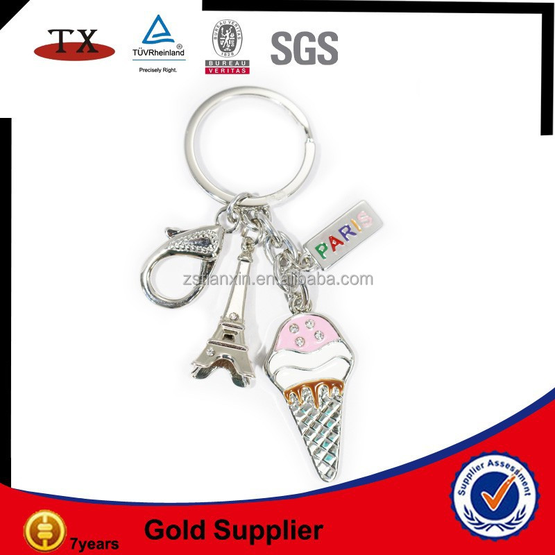 Popular Paris metal souvenir keychain set