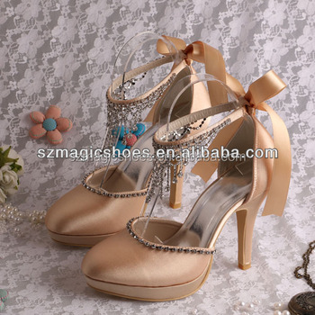 Brand Name Champagne Color Jeweled Wedding Shoes