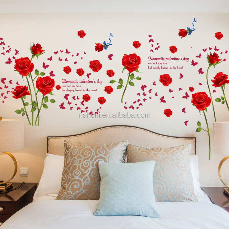 Romantique rouge roses porche salon salle de bains chambre tv fond sticker mural d coratif auto for Chambre romantique rouge