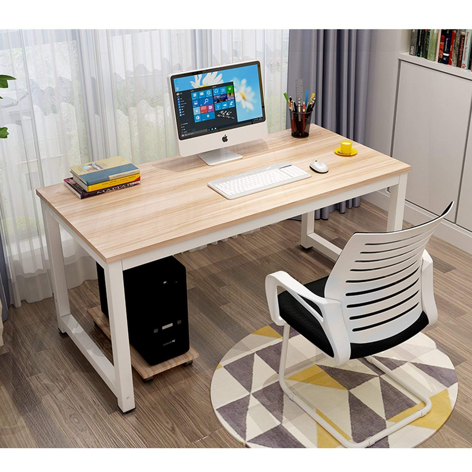 "Modern Simple Style Computer Desk PC Laptop 47"" Office Desk Computer Table Study Writing Desk for Home Office (Beige & White Frame)"