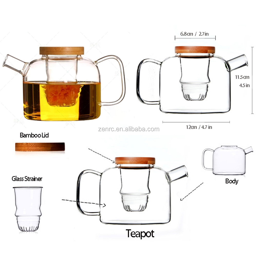 2018 New Modern Teaware Short Round Mouth Glass Teapot Logo Printing