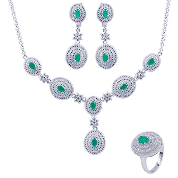 New Fashion African Beads Dubai White Gold Jewelry Set Emerald
