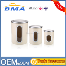 Cream-coloured Stainless Steel Kitchen Canister Set